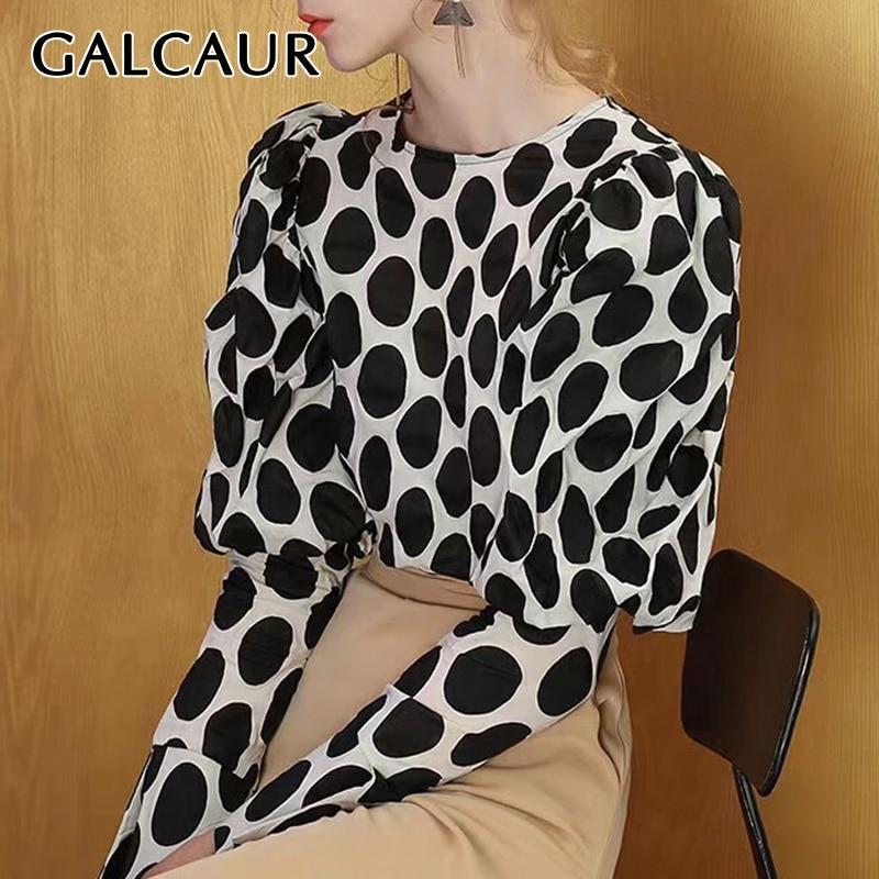 GALCAUR Polka Dot Elegant Blouse For Women Lantern Long Sleeve O Neck Female Shirts Korean Autumn Oversized Fashion New 2019
