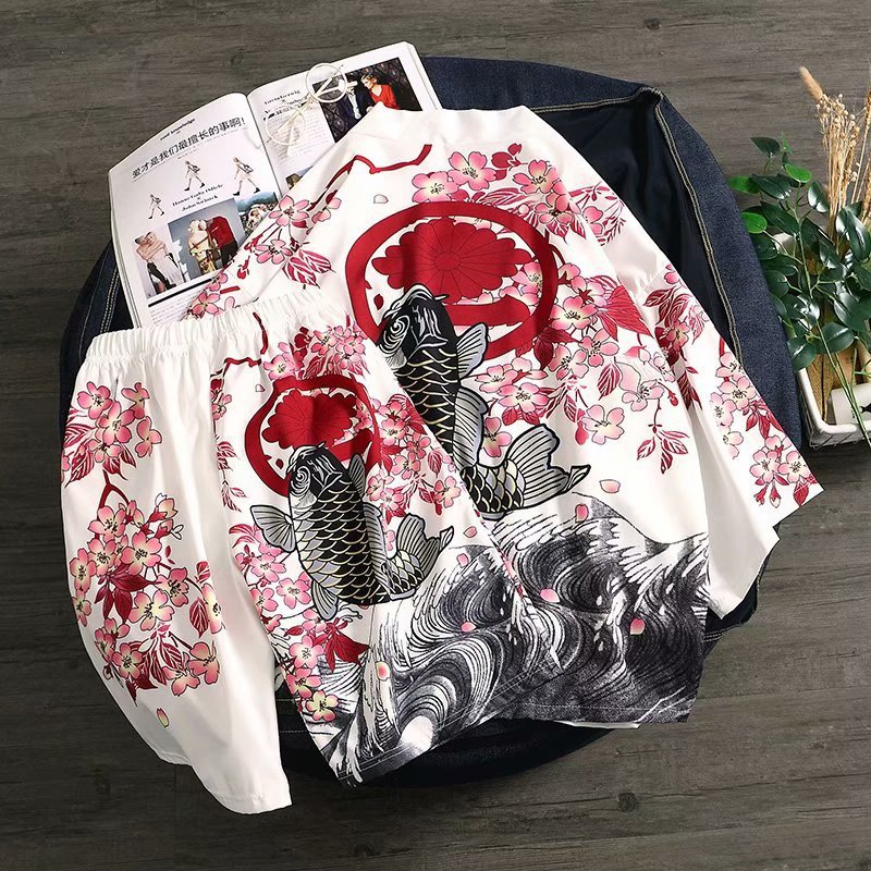 INS Super Fire Japanese-style Retro Kimono Half-sleeve Shirt Shirt Set Men's Sun Protection Clothing Robes Coat Students A Set