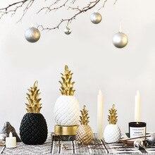 Новинка, полимерные фигурки ананасов, 15 см, 20 см, 25 см, креативные модели золотых, черных и белых фруктов, ремесла для украшения дома