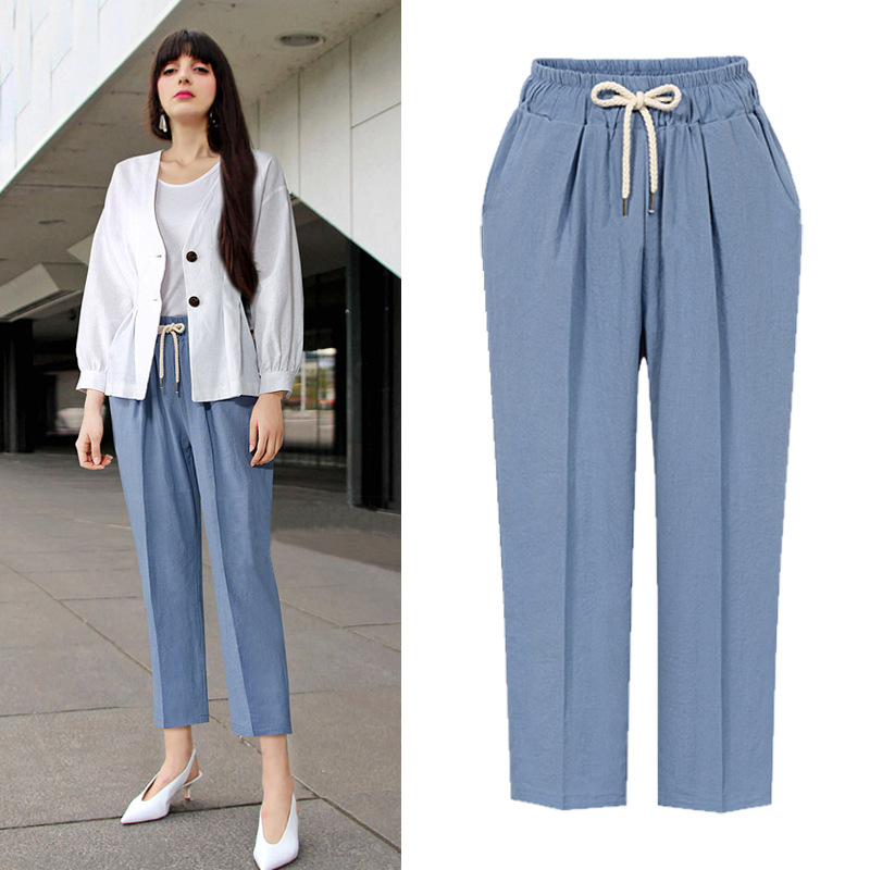 Women High Waist Pants Casual Cotton Slim Skinny Big Stretch  Ankle-length Trousers