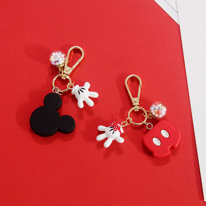 2019 New  Fashion Cute Keychain PVC Cartoon Figure Mickey Super Mario Trolls Key Chain Mini Anime Key Ring Minnie Key Holder