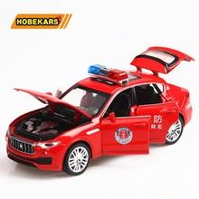 Diecast דגם משטרת רכב מרתה Levante 1/32 מתכת סגסוגת גבוהה סימולציה מכוניות אורות צעצועי כלי רכב לילדים מתנות לילדים