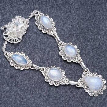 "Natural Rainbow Moonstone Handmade Unique 925 Sterling Silver Necklace 19.5+1.5"" Y5412"