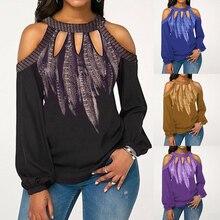 Горячая Мода размера плюс с принтом перьев женская блузка с открытыми плечами с длинным рукавом шифоновая рубашка с круглым вырезом шифоновая женская блузка S-5XL