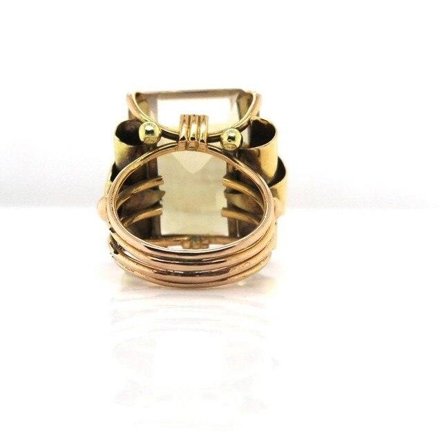 FDLK      Retro Womens Vintage Jewelry Princess Cut Yellow Rhinestone Antique Proposal Gift Rings Bridal Wedding Band Size 5-12