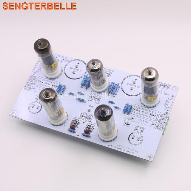 Готовая Плата усилителя мощности 6N2/6N1 6P1 3 Вт * 2, стерео, содержит плату усилителя электронной трубки с индикацией уровня 6E2