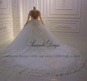 Image 3 - Amanda Design New Design Long Sleeve Rhinestone Crystal Full Sleeve 3 D flowers Wedding Dress