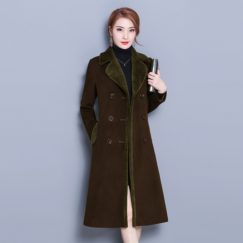 2019 New Style Autumn & Winter Korean-style Woolen Jacket Women's Mid-length Large Size Thick Sheep Shearing Wool Woolen Overcoa