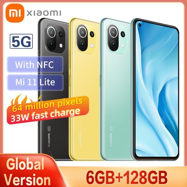 New Global Version Xiaomi Mi 11 Lite 5G Smartphone 6GB+128GB Snapdragon 780G Eight Core 64MP NFC AMOLED Full Screen 90HZ Refresh 1