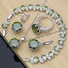 925 Sterling Silber Schmuck Olive Grün Zirkonia Schmuck Sets Für Frauen Hochzeit Ohrringe/Ringe/Halskette Set Dropshipping