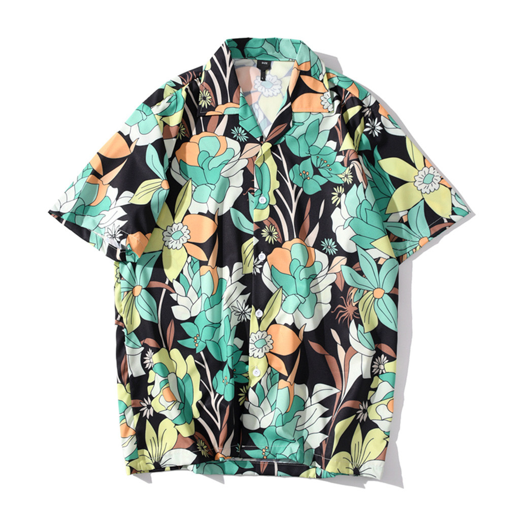 Mens Boys Beach Shirt,RNTOP Summer Fashion Shirts Casual Short Sleeve Hawaiian Tops Loose Casual Blouse