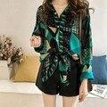 Summer Women Blouse Print Blouse Vintage Lapel Shirt Long Sleeve Sun Protection Female Blouse Women Top