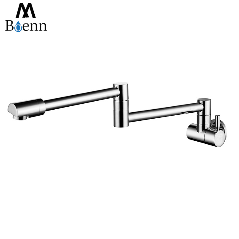 Wall Mounted Swivel Spout Folding Kitchen Sink Faucet Mixer Tap Chrome Brass
