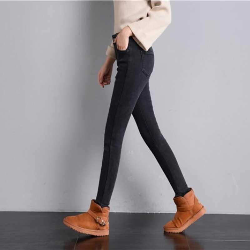 Neue Frau Hohe Taille Jeans 2020 Herbst Winter Fleece Warme Dünne Denim Hosen Frauen Klassische Blau Schlank Dame Bleistift hosen