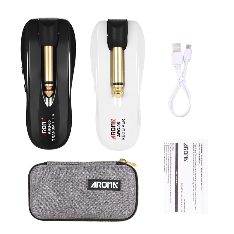 ABLB--AROMA ARG-05 Wireless Guitar Audio Transmission System Transmitter Receiver Built-In Battery For Electric Guitar Bass