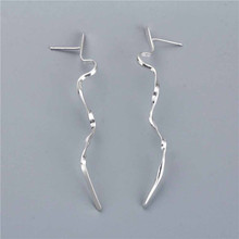925 Sterling Silver Hand Twisted Wave Earrings For Women Long Section Cold Wind Silver Drop Earrings Europe and America