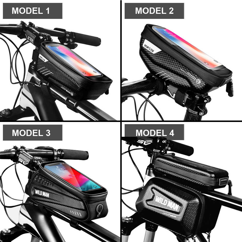 """WILD MAN 1L Bicycle Bag Frame Front Top Tube Cycling Bag Touchscreen 6.5/"""" Phone"""