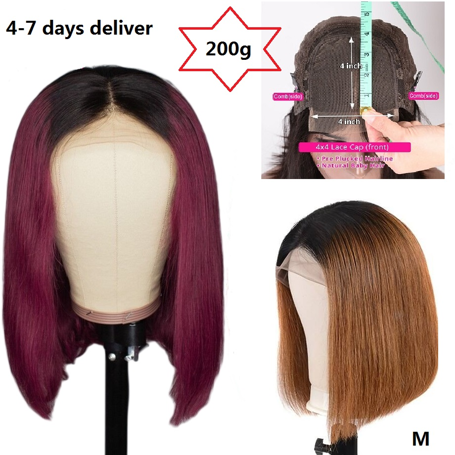 Haever 4x4 Short Bob Wigs Lace Closure Wig Human Hair Wigs Straight Burgundy 99j Red 150% Blunt Cut Bob Wig Brazilian Remy Hair