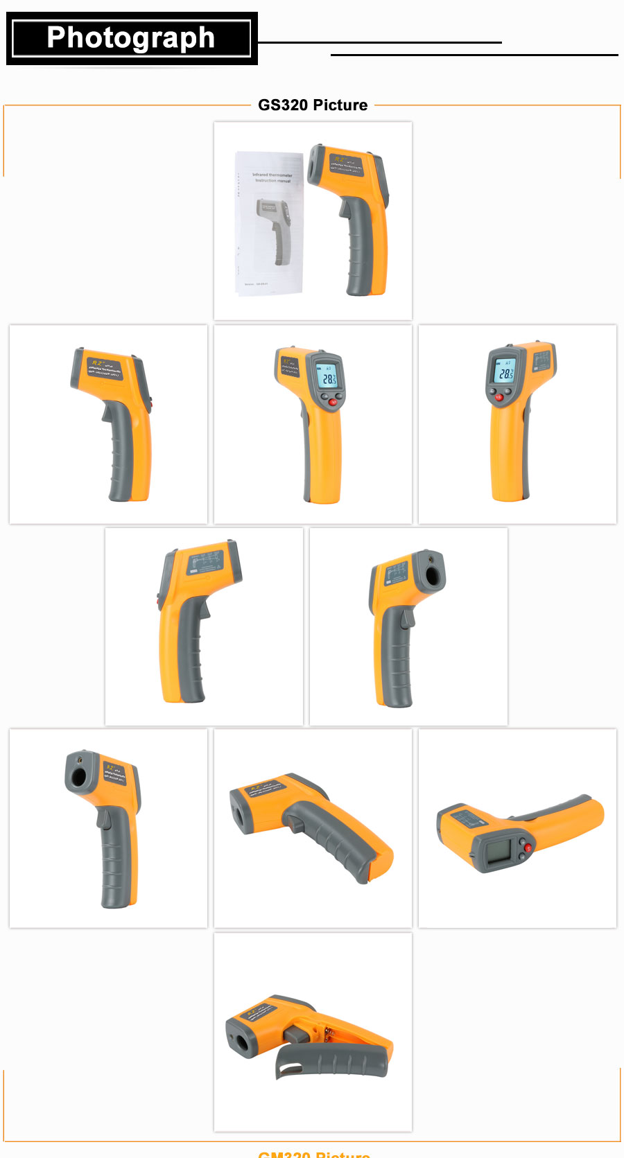 H31379d76e4ff46338663953f5b976b8ar RZ IR Infrared Thermometer Thermal Imager Handheld Digital Electronic Outdoor Non-Contact Laser Pyrometer Point Gun Thermometer