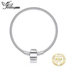 Pulseira de prata de lei 925 jewelrypalace, bracelete feminino com pingente de cobra, prata 925 original
