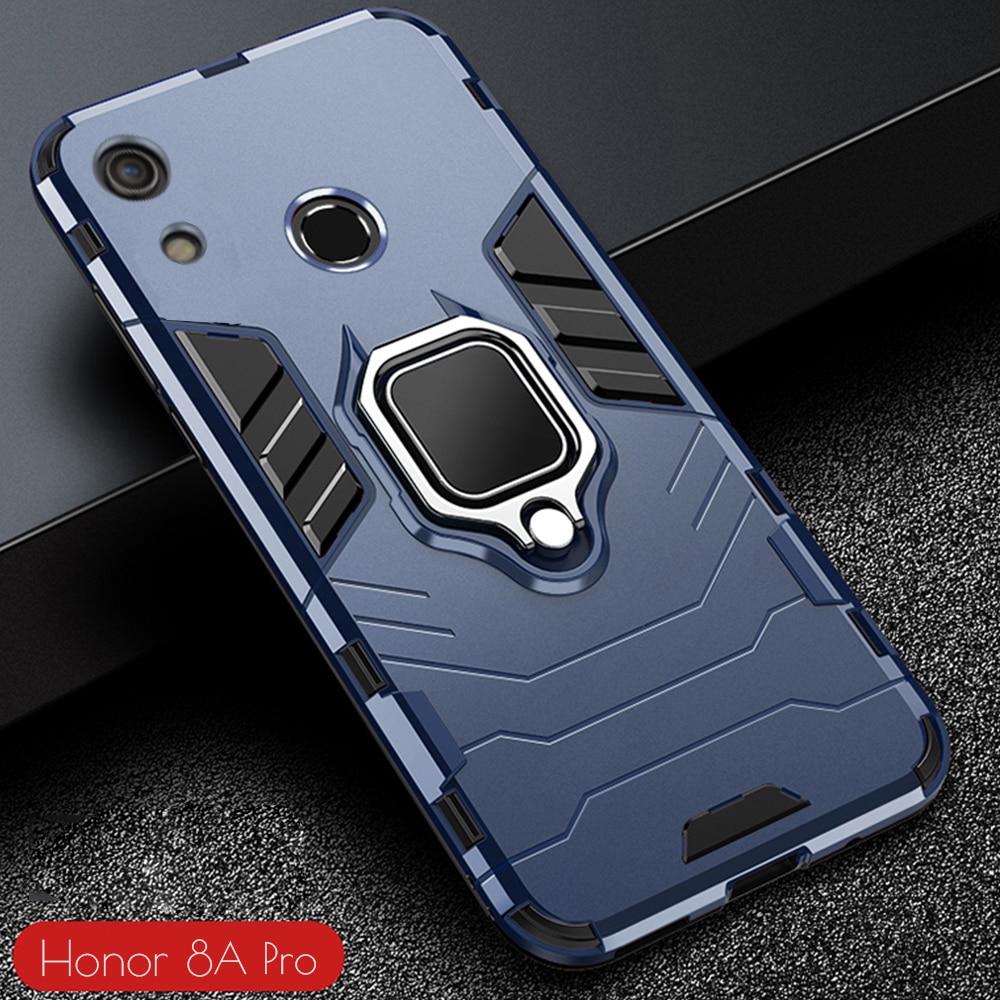 Dla Honor 8A Case pancerz PC pokrywa metalowy uchwyt pierścienia etui na telefony dla Huawei Y6s Y 6s 2020 pokrywa odporny na wstrząsy zderzak-z odciskiem palca