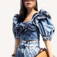 SHENGPALAE Ruffle Denim Crop Tops Female Puff Sleeve Square Collar Sexy Shirt Blouse Women Summer 2019 Fashion New FU035