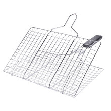Outdoor Barbecue Foods Cooking Square Foldable Mesh Grid Rack Grilling Basket Stainless Steel With Handle Removable Anti Scald(China)