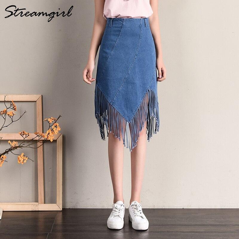 Streamgirl Tassel Skirt Denim Women Irregular Skirts Female High Waist Panel Denim Skirt Black Women Jeans Midi Skirts Summer