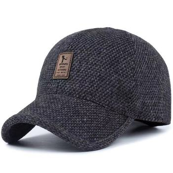 Autumn and Winter Men's Hats Middle-Aged and Elderly Cashmere Woolen Earmuffs Baseball Cap Wild Thick Warm Cap 2020 Skull