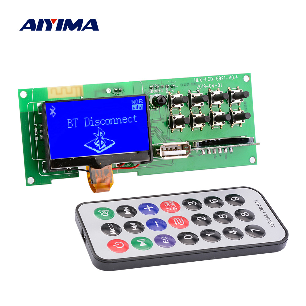 AIYIMA Bluetooth 5.0 Audio MP3 Decoder Wireless Car USB MP3 Player SD Card FM Decoding Board Support Lyrics Display Module 5V