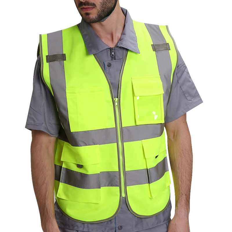 Jodimitty 男性高安全ベスト作業ベスト作業服安全レッド反射ベスト建設ベストロゴで送料無料