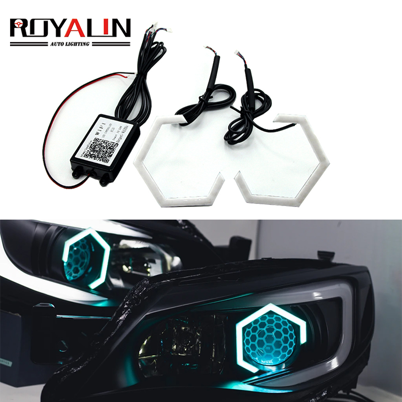 ROYALIN Hex Halo Rings RGB Bluetooth Controller LED Angel Eyes DRL Multicolor Projector Headlight Lenses Car Light Accessories