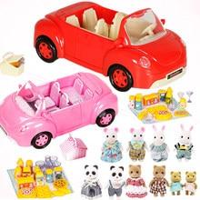 Miniatur Wald Tier Familie 1:12 Puppen Picknick Auto Action Figure puppenhaus miniatur cartoon Pretend Play Set Geburtstag geschenk