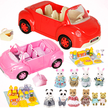Miniature Forest Animal Family 1:12 Dolls Picnic Car Action Figure dollhouse miniature cartoon Pretend Play Set Birthday gift