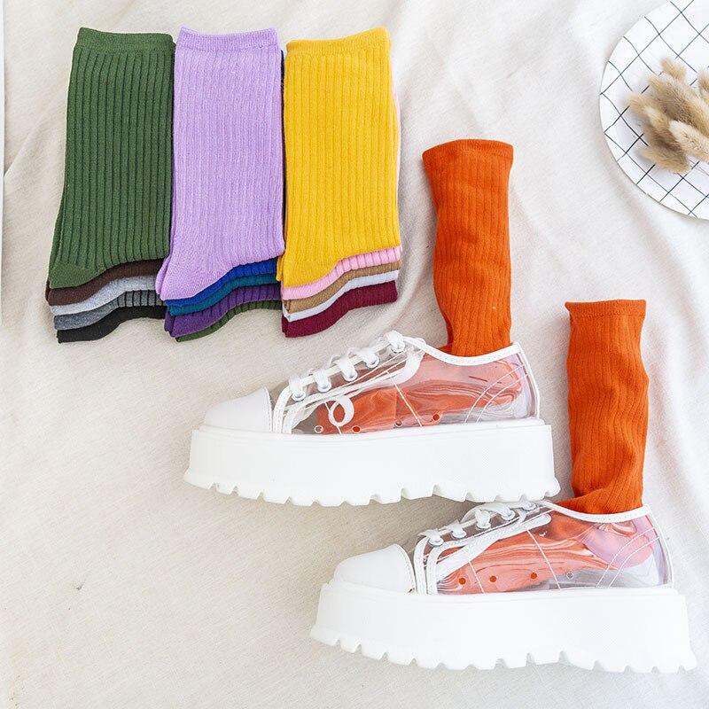 Autumn Fashion Woman Candy Color Korean Style Female Cotton Socks Street Fashion Cute Girl Long Solid Color Socks Hip Hop Socks