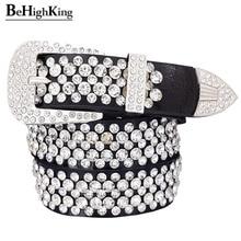 Cinto de couro legítimo, cinto de couro genuíno de luxo, brilhante, com strass, para mulheres, macio, cinto de diamante clássico, alça de qualidade feminina, largura 3.3