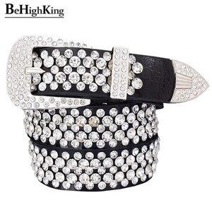Image 1 - Cinto de couro legítimo, cinto de couro genuíno de luxo, brilhante, com strass, para mulheres, macio, cinto de diamante clássico, alça de qualidade feminina, largura 3.3