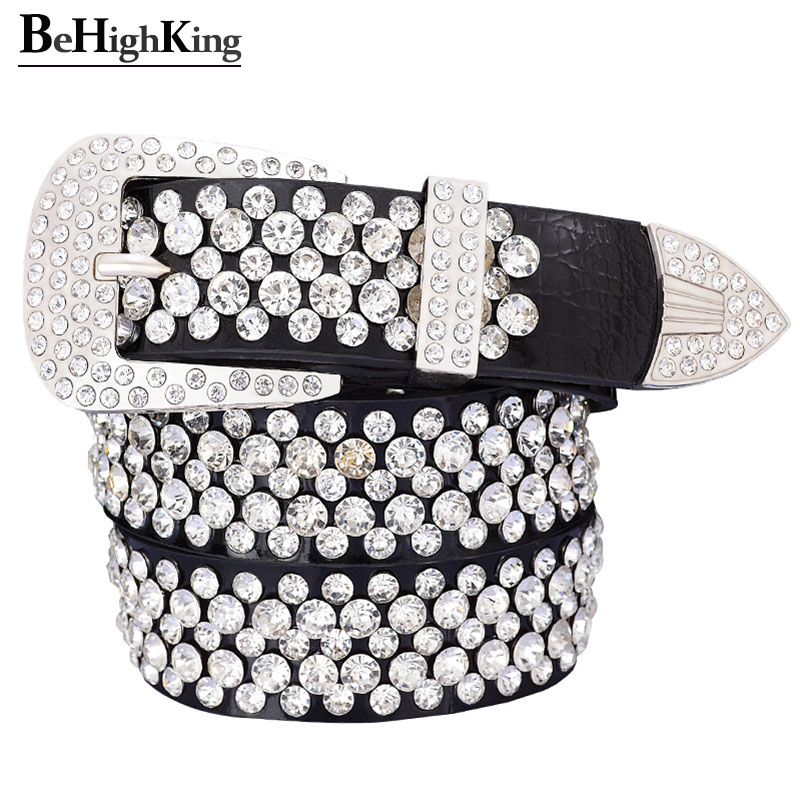 Fashion Genuine Leather Luxury Shining Rhinestone Belts For Women Soft Wear Classic Diamond Belt Female Quality Strap Width 3.3