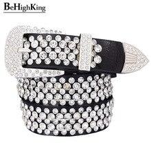 Fashion genuine leather luxury shining rhinestone belts for women Soft wear classic diamond belt female Quality strap width 3.3