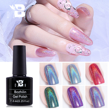 Bozlin 36 Цвета голографическая гель био-Гели Soak Off УФ-гель для ногтей 7,3 мл красочные супер блестящие маникюр ногтей инструменты для ногтей лако...