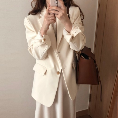 Autumn Coats Korean Style Women Chic White Lapel Suit Loose Coat Single-breasted Minimalist Official Lady