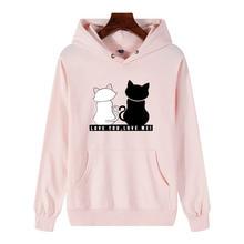 Winter Pullover Sweatshirt Women Cat Kawaii Poleron Mujer 2019 Kangaroo Pocket Hoodie School Korean Streetwear Unisex Hoodie kangaroo pocket pullover camouflage hoodie