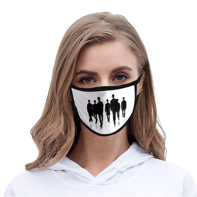 Adult Children's Mask Fashion Kpop Member Sport Hip Hop 3d Mask Washable Dustproof Face Mask Reusable Fabric Anti Pollution Mask