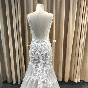 Image 5 - Leeymon Mermaid Ivory Kant Applicaties Wedding Dress V hals Kralen Sexy Backless Bruidsjurk Robe de Mariee