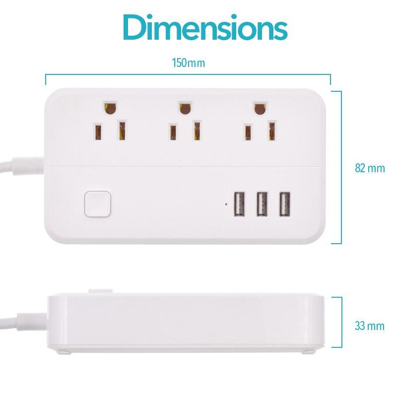 Tira de energia wifi 3usb inteligente eua plug interruptor sobrecarga protetor contra surtos 3 portas usb carregador google casa alexa 1.25m 10a wifi soquete - 4