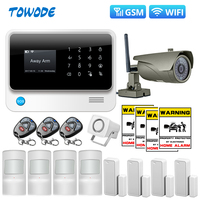 Towode G90B Plus WiFi GSM GPRS Integrated Wireless APP Control Top Home Burglar Security Alarm System with IP Camera