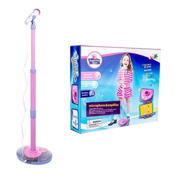 ¡Oferta! micrófono de Karaoke para niños, juguete de aprendizaje de música fresco ajustable con efecto de luz, regalo de cumpleaños para niños, azul/rosa