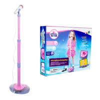 Hot Selling Kids Karaoke Stand Microphone Adjustable Cool Music LearningToy with Light Effect Children Birthday Gift - Blue/Pink