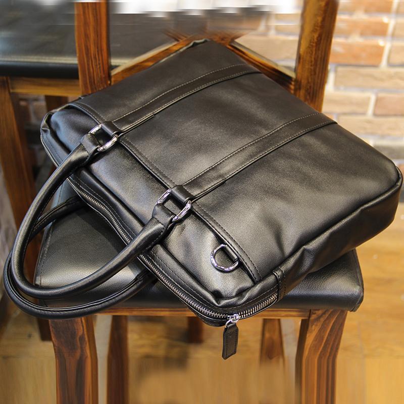 Men Brief Cases PU Bags Male Business Bag Black 35cm*25cm*6cm