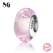 Fit authentic pandora bracelet fashion jewelry silver 925 sparkling Murano glass beads pink color charms diy craft beads supply цена